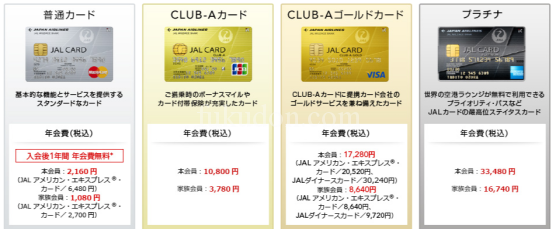 JALカードのラインアップ